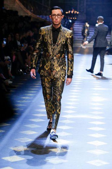 Gold brocade three-piece suit