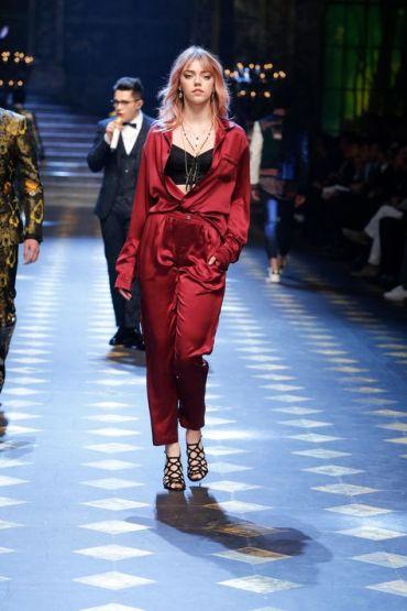 Red silk jumpsuit