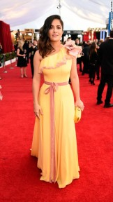 Salma Hayek in Gucci. CNN Entertainment Online: Kevin Mazur/TNT/Getty Images