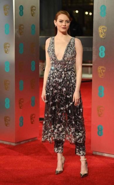 Emma Stone in Chanel. BAFTAs 2017 Best Dressed. Image source: Vogue Australia.