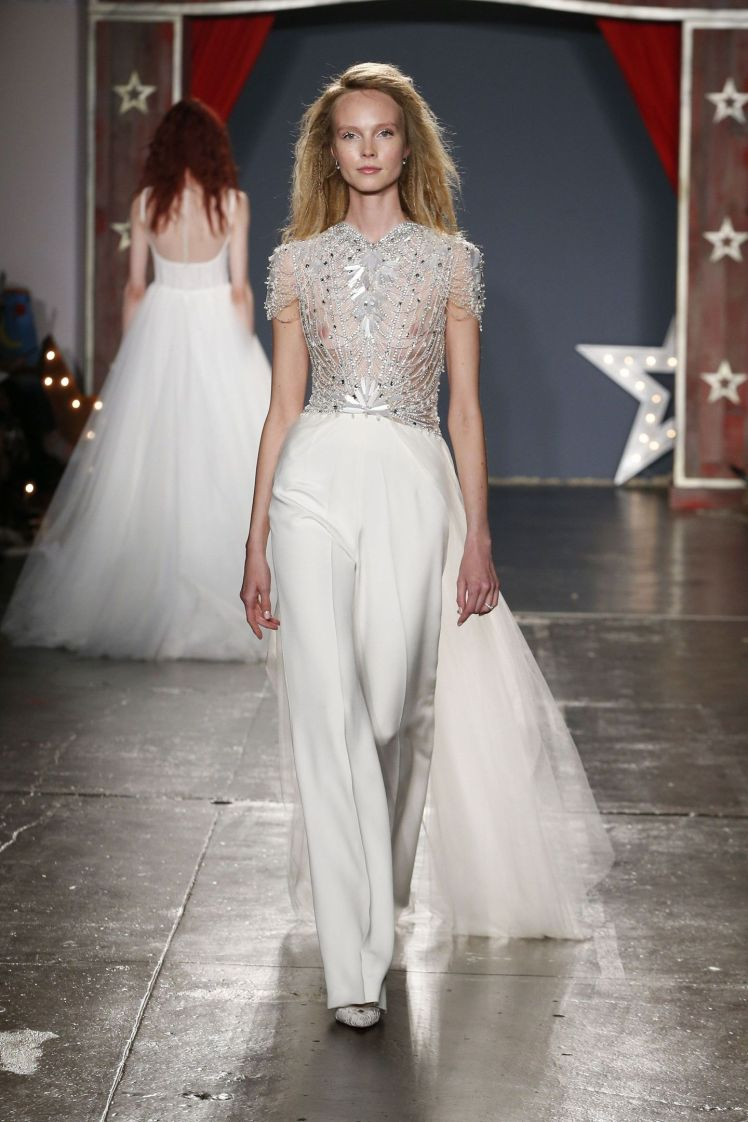 Jenny Packham bridal spring 2018-bridal ensemble with silver beaded bodice and tulle train