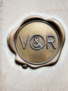 V&R gold logo at their headquarters in amsterdam